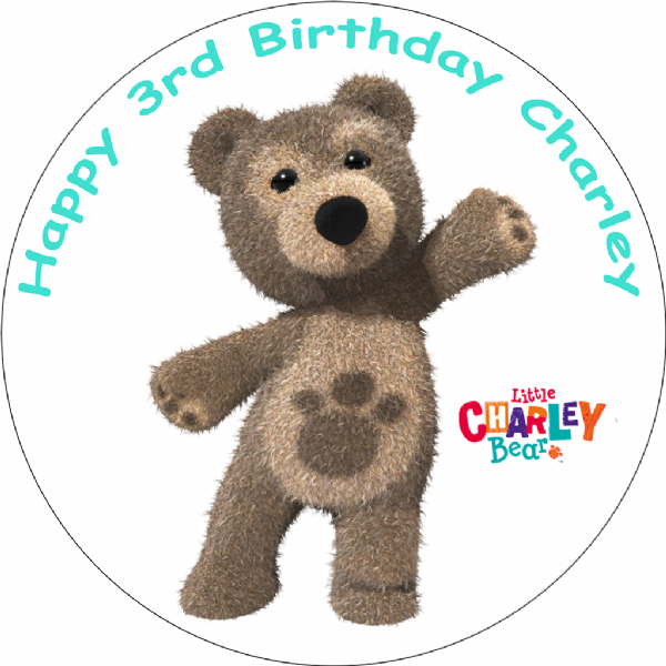 LITTLE CHARLEY BEAR EDIBLE ROUND BIRTHDAY CAKE TOPPER DECORATION